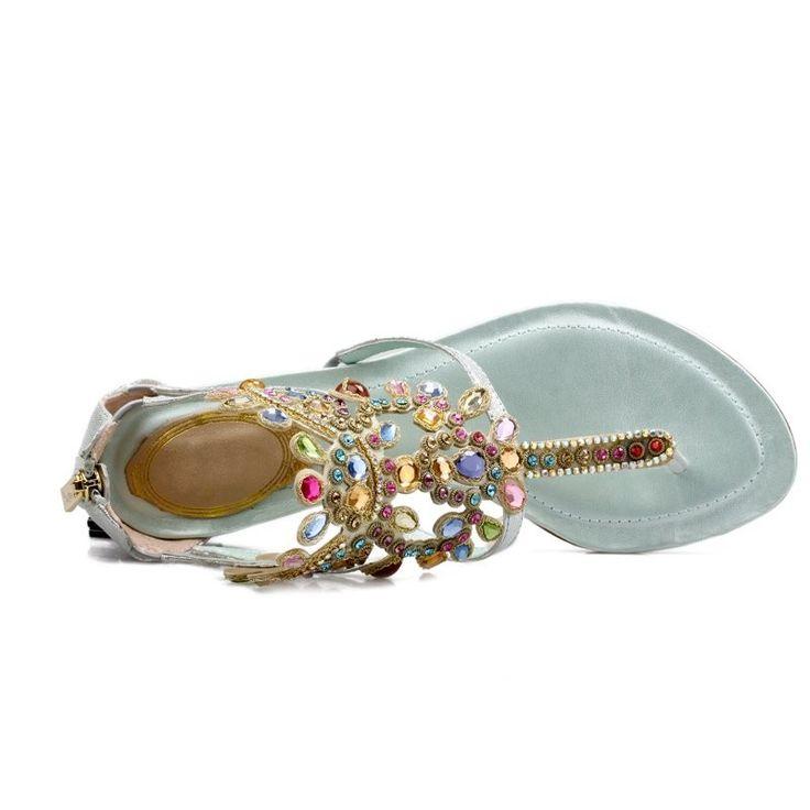 Aliexpress.com: Acheter Strass décorer mode impression en cuir véritable femmes sandales 2015 new summer chaussures femme tongs sexy diapositives plage sandales de sandale en plastique fiable fournisseurs sur Show Loveliness