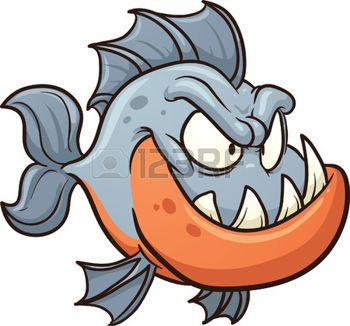 Cartoon piranha  Vector clip art illustration with simple gradients  All in a single layer  Illustration