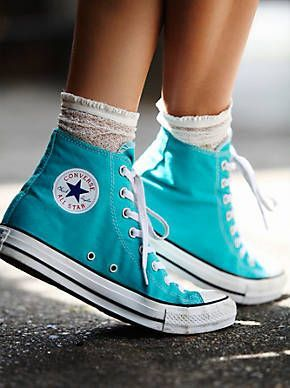 Free People Charlie Hi Top Turquoise Converse, $55.00                                                                                                                                                      More
