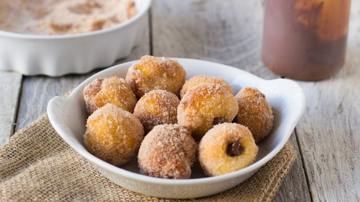 Blogger Carrian Cheney of Sweet basil loves making these delicious cinnamon-sugar doughnut holes with a chocolaty surprise.