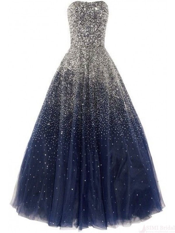 Ball Gown Prom Dress With Beading Corset Back Tulle Long Navy Blue (PP-007)
