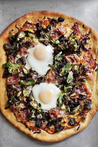 brussels sprouts + pancetta pizza