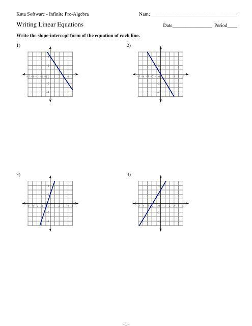 Writing Linear Equations Worksheet Answers Writing Linear