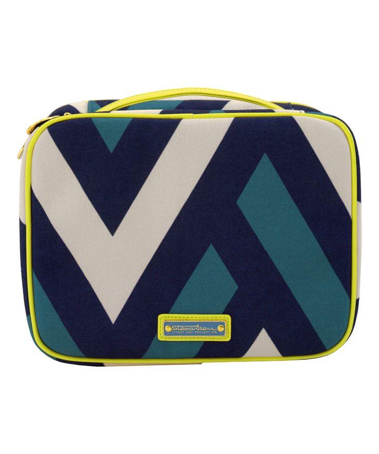 Navy & Celery Stewardess Hanging Cosmetic Bag