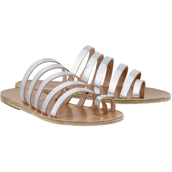 Ancient Greek Sandals Niki Slides ($52) ❤ liked on Polyvore featuring shoes, sandals, grey, silver strappy shoes, grey slip on shoes, silver strappy sandals, leather sole shoes and summer sandals