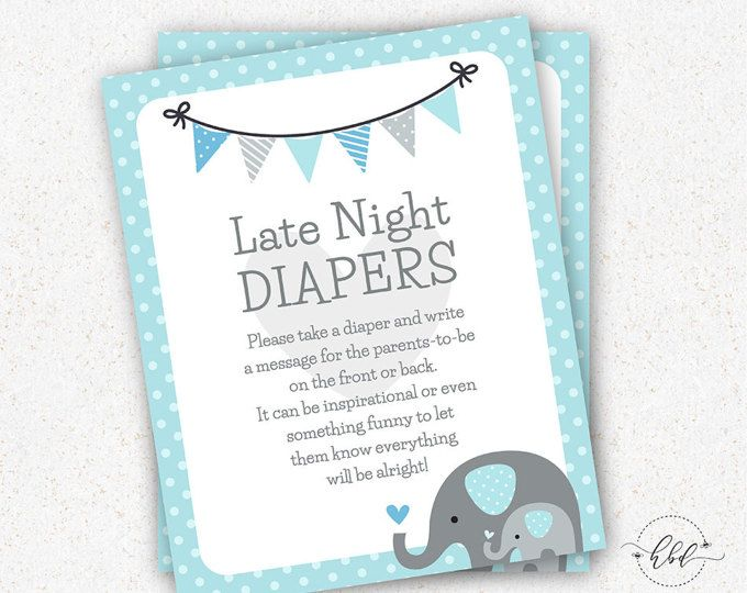 Elephant Baby Shower Games Diaper Game - Printable Elephant Baby Shower Game Diaper Games- Instant Download Baby Shower Game 8 x 10 in E002