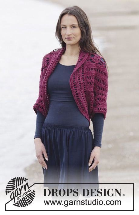 "Holly Berry - Crochet DROPS shoulder piece with fans and lace pattern in ""Big Merino"". Size S-XXXL. - Free pattern by DROPS Design"