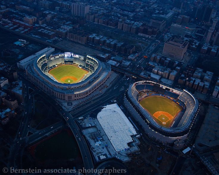 New and Old Yankee Stadiums lit up together for the last time.
