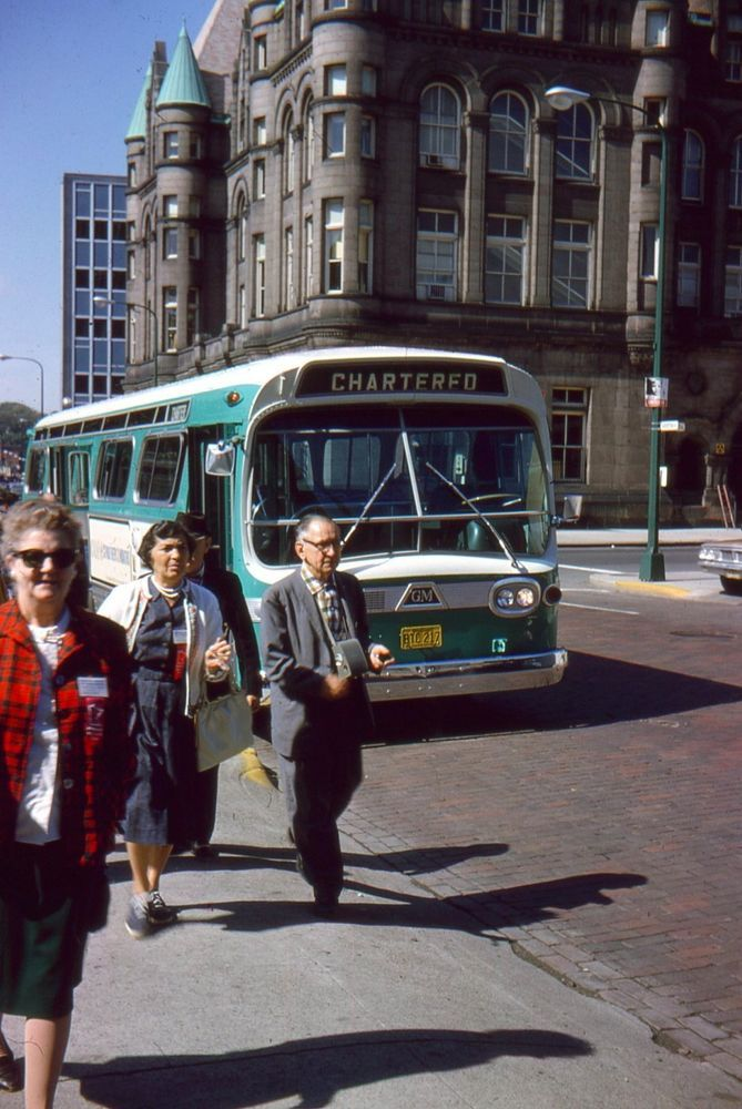 35mm Slide Minneapolis Street Scene Chartered Bus Tourists 1964
