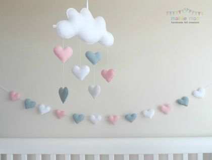 Raining Love - Baby Mobile and Heart Garland Set - Pink and Grey