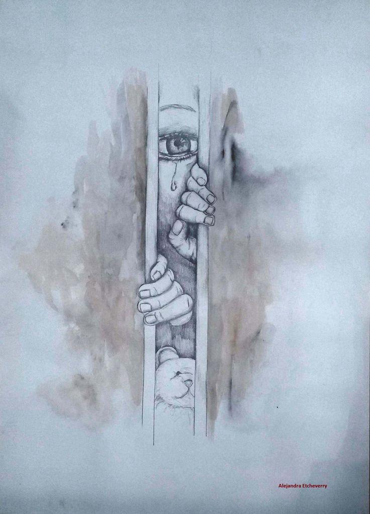Maltrato Infantil - Dibujo a Lapiz y aguada - 70x50cm - Autora: Alejandra Etcheverry
