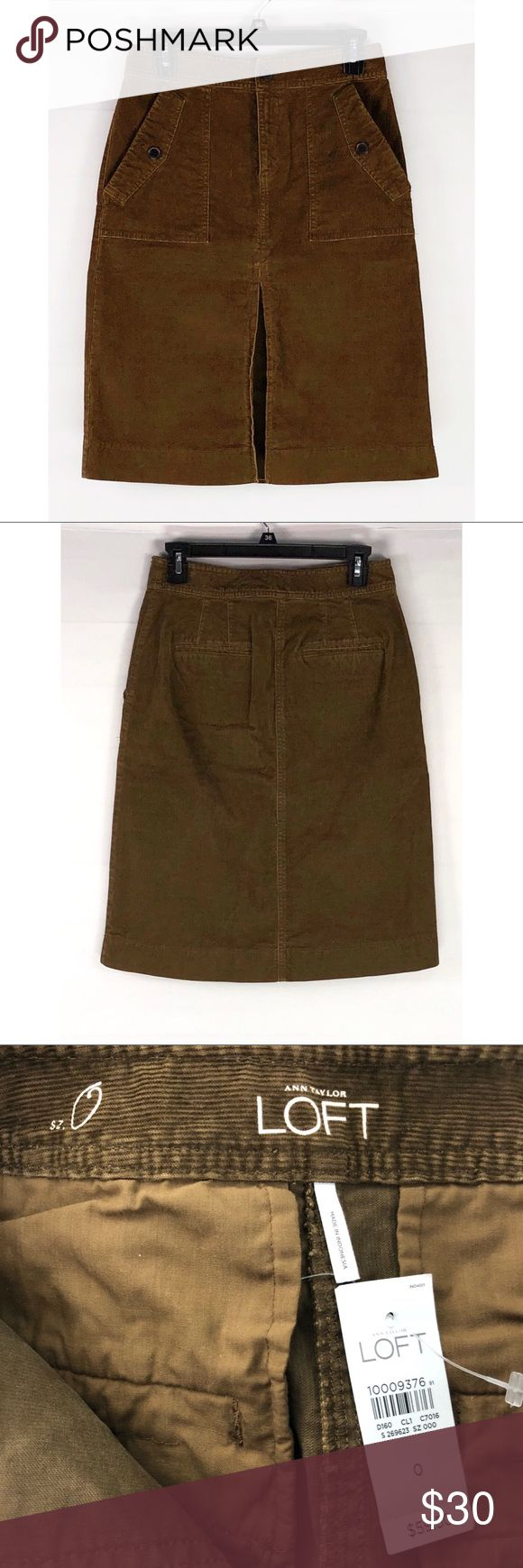 Loft Corduroy Brown Pencil Skirt New with tags!! LOFT Skirts Pencil