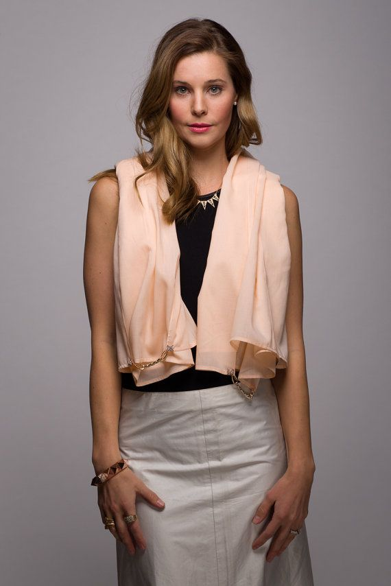 Lightweight Peach Scarf with Rose Gold Studs and by WICKandPoppy on Etsy, $76.32