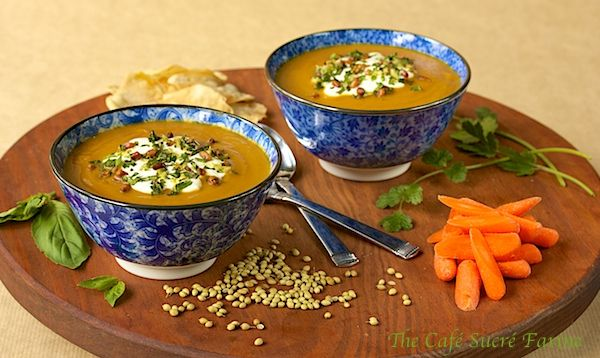 roasted carrot amp coriander soup w toasted pine nut amp fresh herb ...
