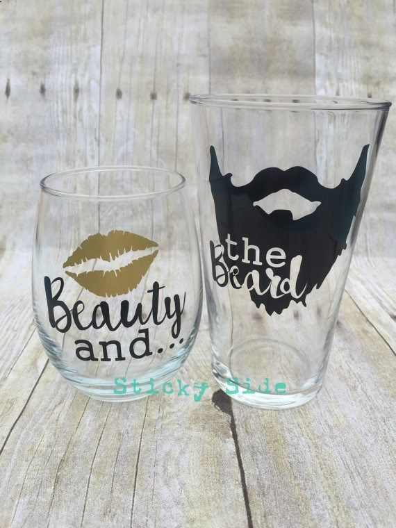 Wine Glasses - Beauty and the Beard | Couple glass set | Engagement glasses | Wedding glasses | Couples gift set | Beard | Beauty
