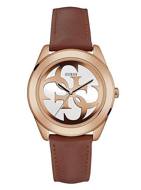 Tan and Rose Gold-Tone Logo Watch | shop.GUESS.com