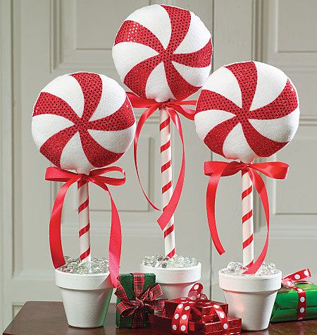 Red and White Peppermint Candy Christmas Topiary, Ornaments & Decorations. #Christmas