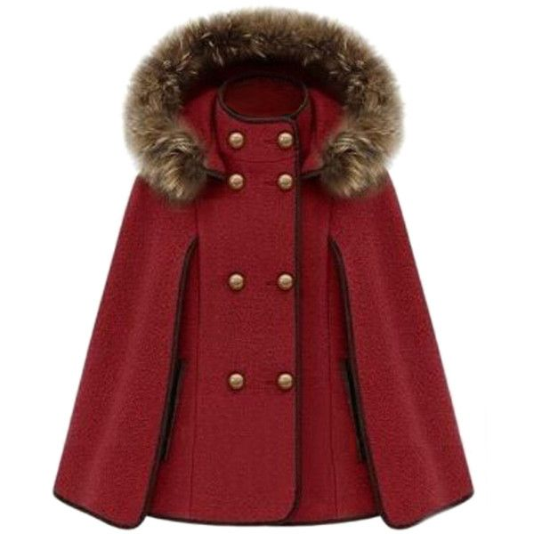 Red Ladies Cute Warm Winter Tweed Poncho Hooded Pea Coat (835 HRK) ❤ liked on Polyvore featuring outerwear, coats, jackets, cape, red, peacoat coat, red cape, pea coat, red cape coat and pea jacket