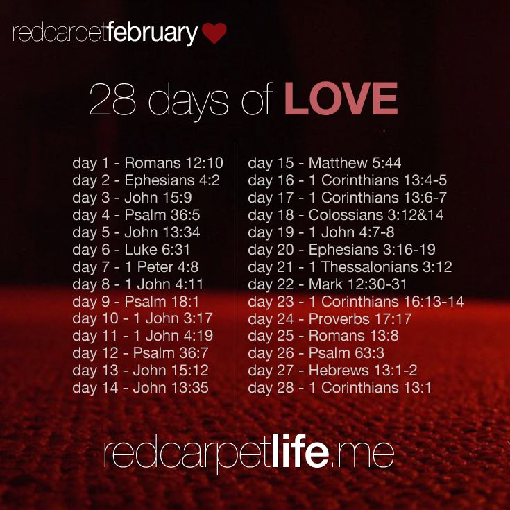 28 Days of Scripture related to Love. | cindyk.me/1bgbpPt #28DaysOfLove #RedCarpetLife #Love #Marriage #Faith #Scripture #Relationships