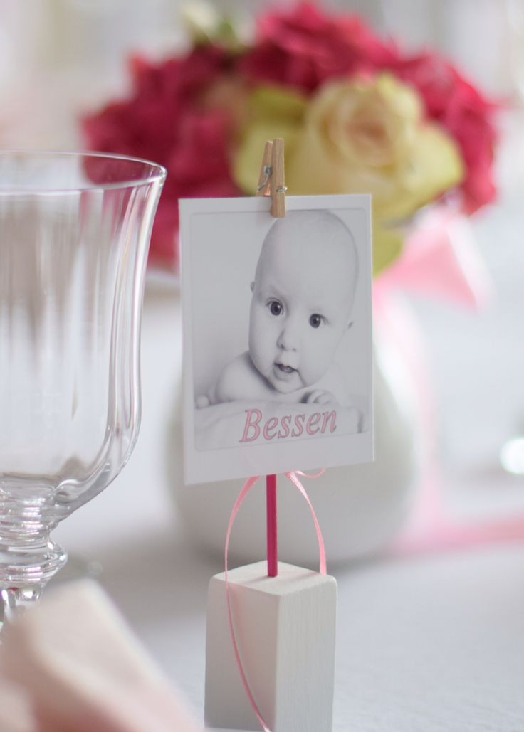 Pink baptism dåp cute diy  gold placecard