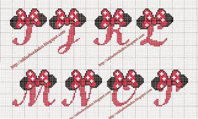 Olá meninas, hoje venho trazer alguns gráficos de alfabeto da Minnie:                            Espero que gostem. Até mais =D