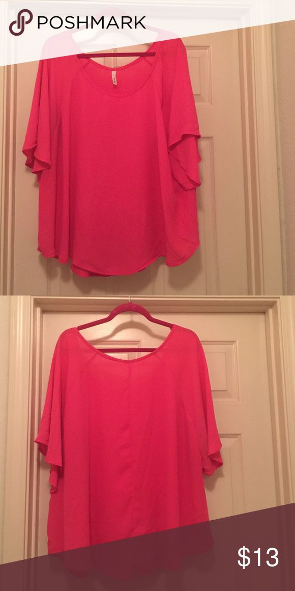 Hot pink flowy blouse Gorgeous Barbie hot pink flowy blouse. hot pink flowy top Tops Blouses