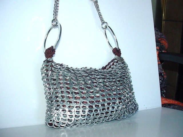 Upcycled purse constructed around one those sequined purses that were in a few years back.