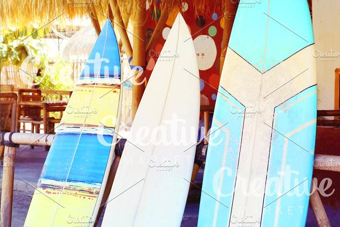 surfboard on the beach by Trefilova Anna on @creativemarket