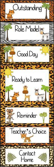 Jungle Animal Themed Behavior Clip Chart ~ Classroom Management Tool