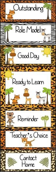 Jungle Animal Themed Behavior Clip Chart ~ Classroom Management Tool
