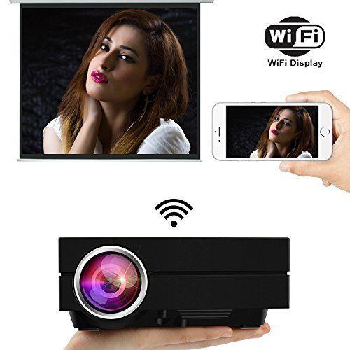Uvistar Vidéoprojecteur GM60A WiFi Projecteur Mini Projecteur LED 800 * 480 Projecteur de 1000 Lumens Multimédia pour Jeux Vidéo, TV, Movie…