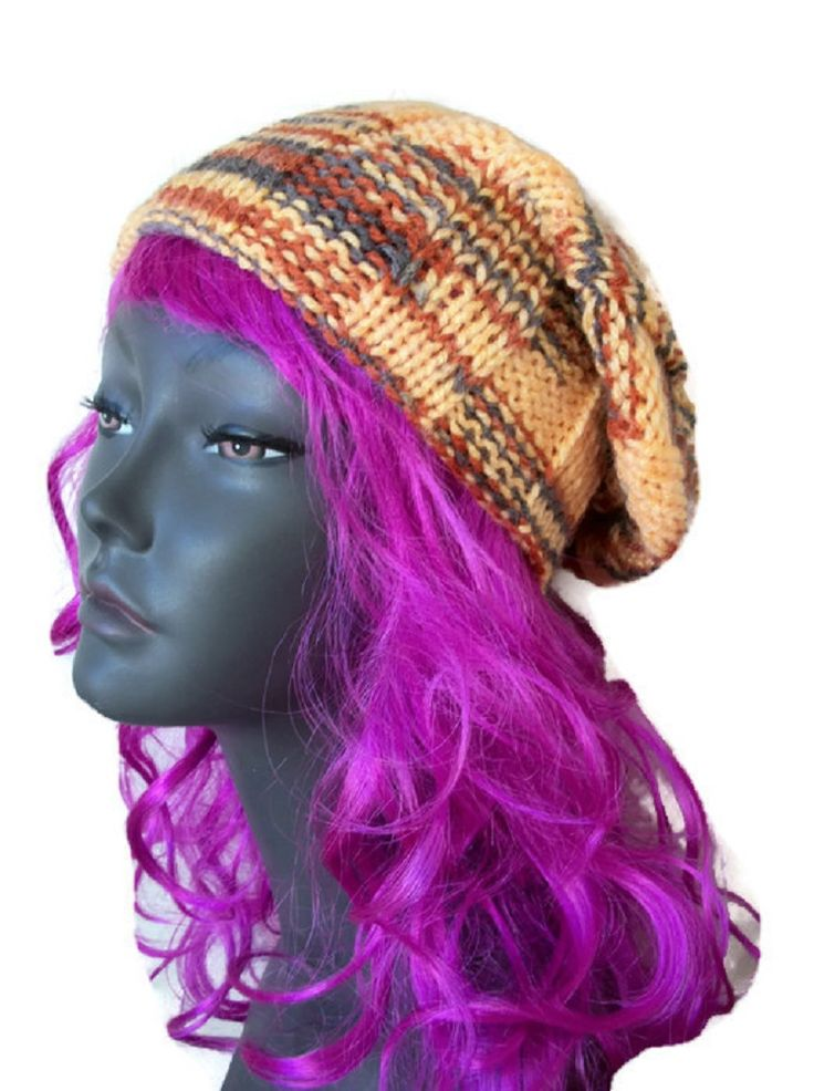 Slouch Hat, Self Stripe, Hand Knitted, £18.99
