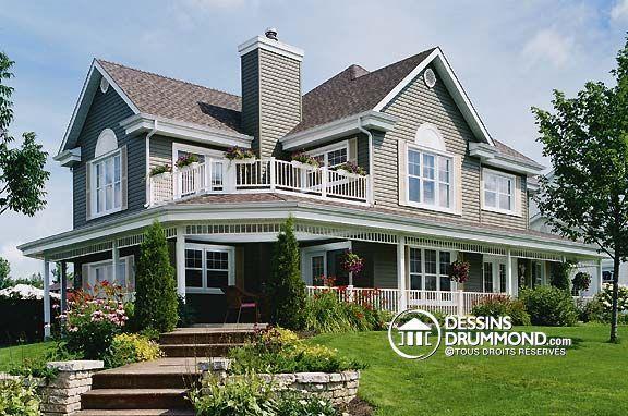 Plan de Maison unifamiliale W3873 - pourrait aussi très bien passer pour un chalet ou une maison champêtre.