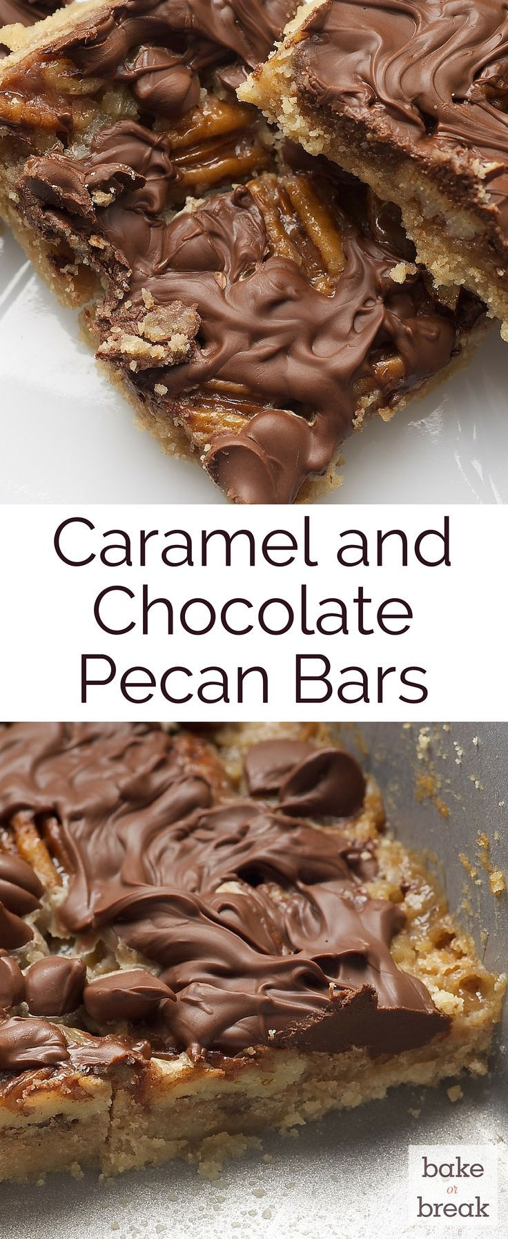 You only need a handful of ingredients to whip up these simple, delicious Caramel and Chocolate Pecan Bars. ~ http://www.bakeorbreak.com