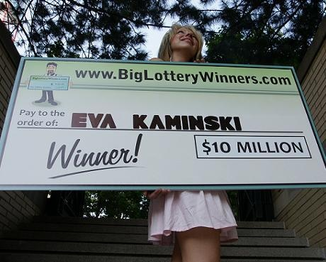 Pretty girl holding big lottery check for $10,000,000
