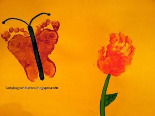 footprint butterfly and handprint flower