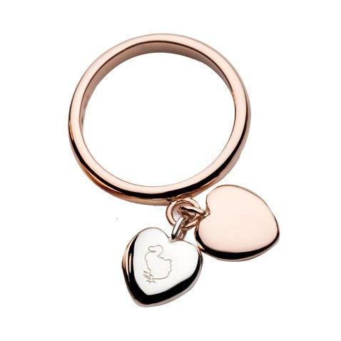Anello Cuori - Anello Dodo in oro rosa 9Kt e argento con due cuori pendenti