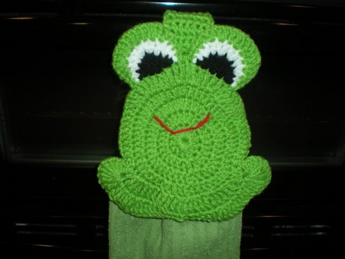 Crochet Hanging towel - Frog Topper - Green | Shelley's ...