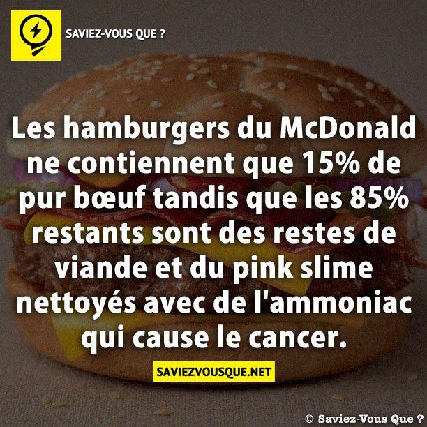 les hamburgers du mcdonald ne contiennent que 15 de pur b uf tandis que les 85 restants sont. Black Bedroom Furniture Sets. Home Design Ideas