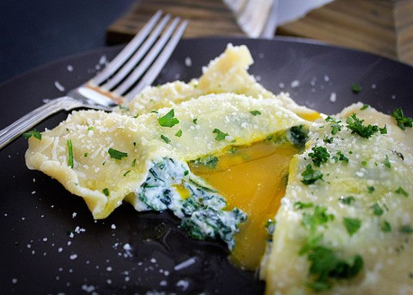 Giant Ravioli with Egg Yolk, Spinach, and Ricotta