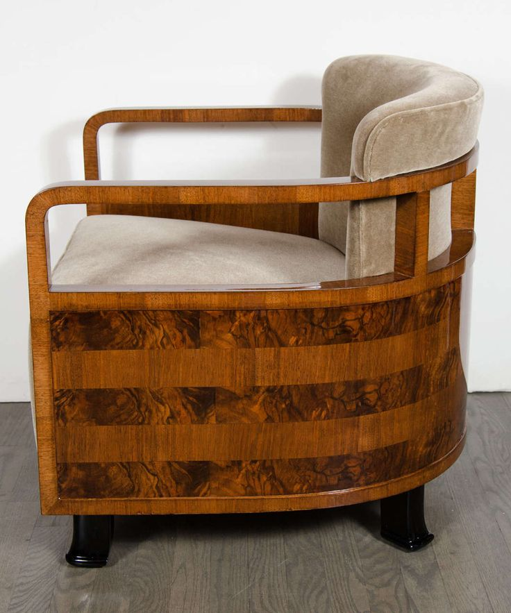 Pair of Art Deco Bauhaus Armchairs with Exotic Inlay and Mohair Upholstery | From a unique collection of antique and modern armchairs at https://www.1stdibs.com/furniture/seating/armchairs/