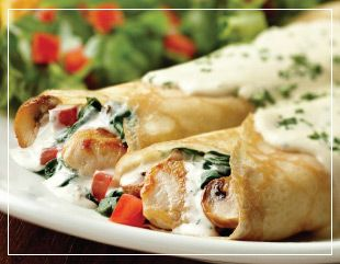 Chicken mushroom and spinach crepe recipe