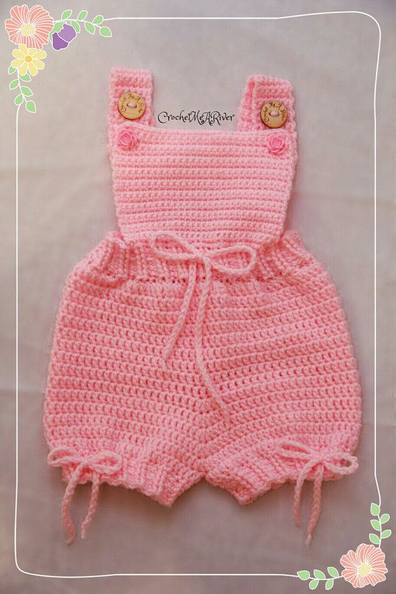 Romper baby/toddler crochet outfit. All items by CrochetYouARiver (cute idea)