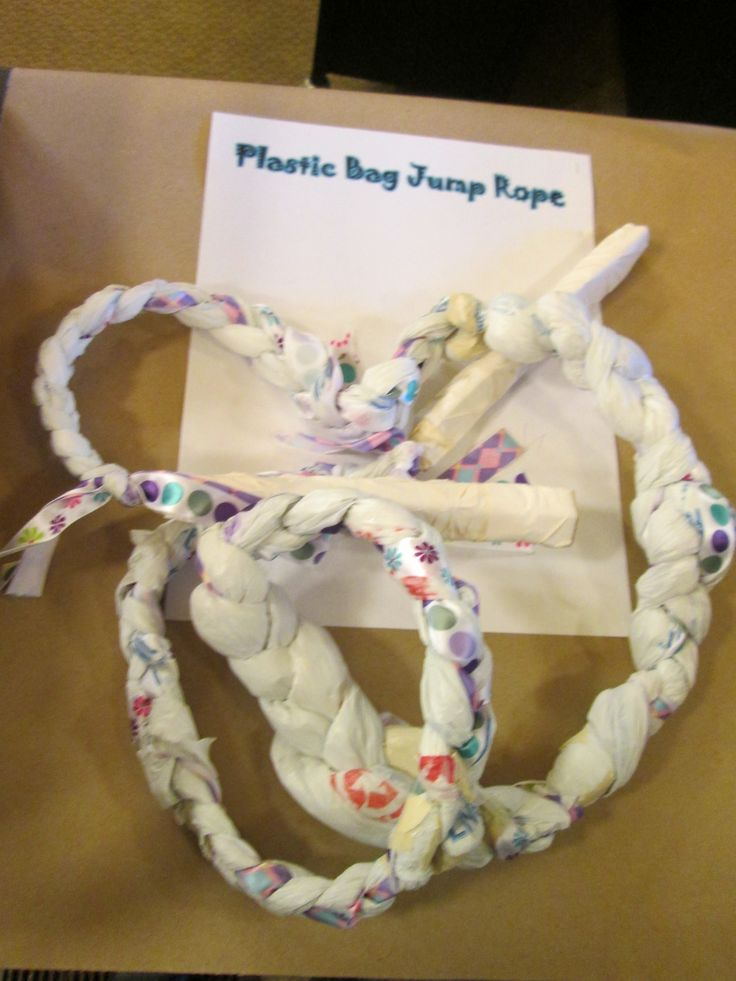 Plastic Bag Jump Rope.  2016 CSLP Children's Manual, p. 84.  Craft created by Margaret Barr.  Collaborative Summer Library Program, http://www.cslpreads.org/.