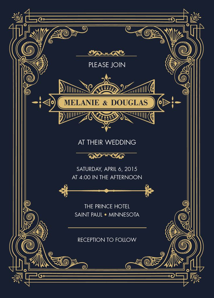 Invitation card for weddings or events. Gold and navy or black signature to the 1920's Art Deco style Gatsby Collection.  All designs © Copyright Southland Fox. https://www.etsy.com/shop/SouthlandFox
