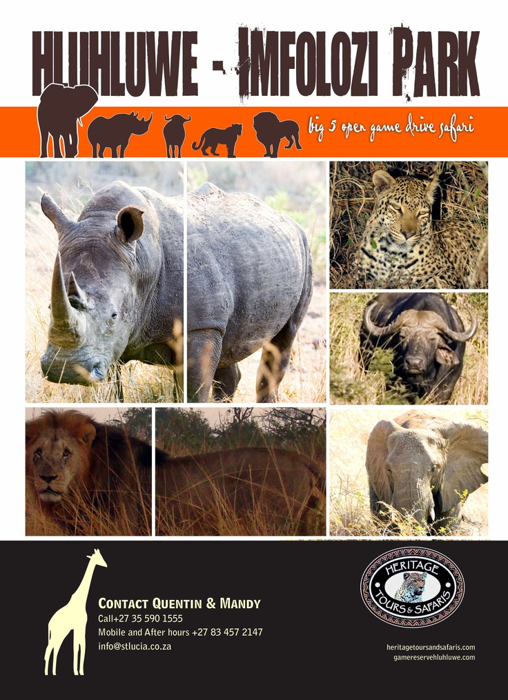Heritage Tours and Safaris open game drives to Hluhluwe Umfolozi 0355901555