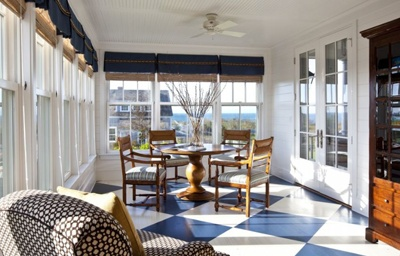 The porch floor is often neglected and with a clever paint scheme can become a highlight of the space.Decor, Ideas, Sun Porches, Painting Wood Floors, Painting Floors, Floors Design, Traditional Porches, Windows Treatments, Sun Room
