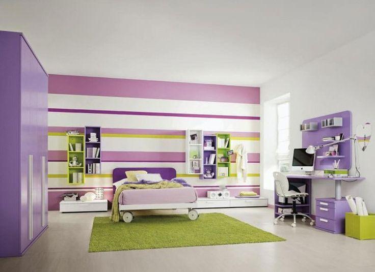 Camerette per ragazzi con pareti decorate n.07