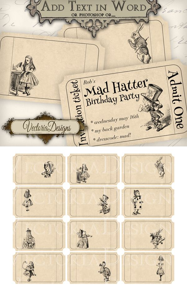 Printable editable Alice in Wonderland Tickets by VectoriaDesigns on deviantART