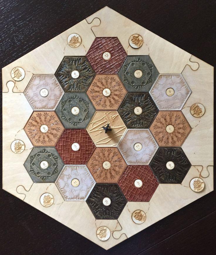 Custom Settlers of Catan game board, made using natural wood colors!
